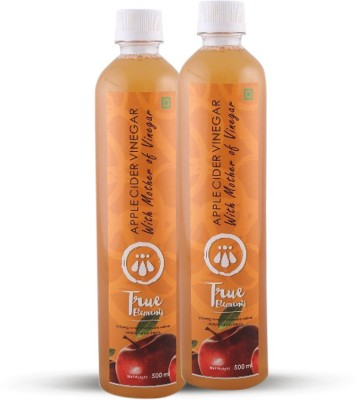 True Elements Apple Cider with Mother -Raw, unfiltered, unpasteurized Vinegar 500 ml(Pack of 2)