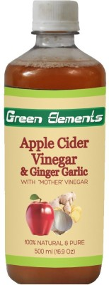 Green Elements Apple Cider & Ginger-Garlic (Raw, Unprocessed and Unrefined) with the Mother Vinegar 500 ml