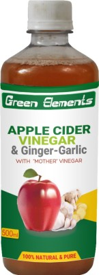 Green Elements Apple Cider & Ginger-Garlic (Raw, Unprocessed and Unrefined)with the Mother Vinegar 500 ml(Pack of 1)