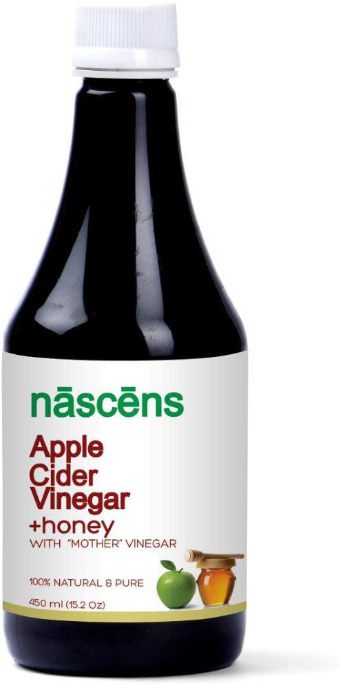 nascens Apple Cider & Honey (Raw, Unprocessed, Unrefined with the Mother) Vinegar 450 ml