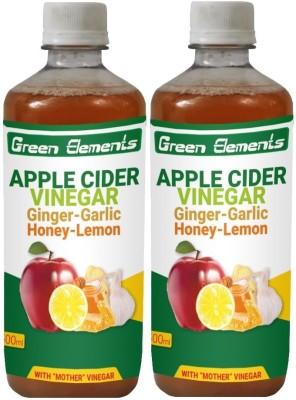 Green Elements Apple Cider & Ginger-Garlic-Honey Lemon with the Mother Vinegar 1000 ml(Pack of 2)