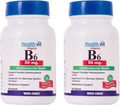 Healthvit Vitamin B6 50 Mg 60 Capsules Pack of 2