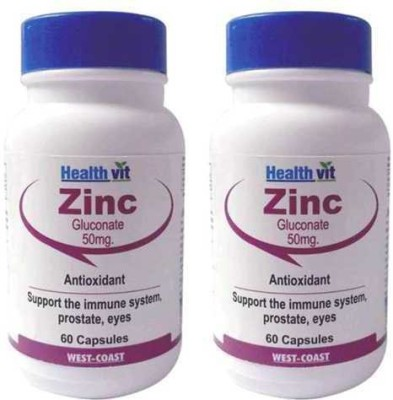 Healthvit Zinc Gluconate 50 mg (Pack of 2)