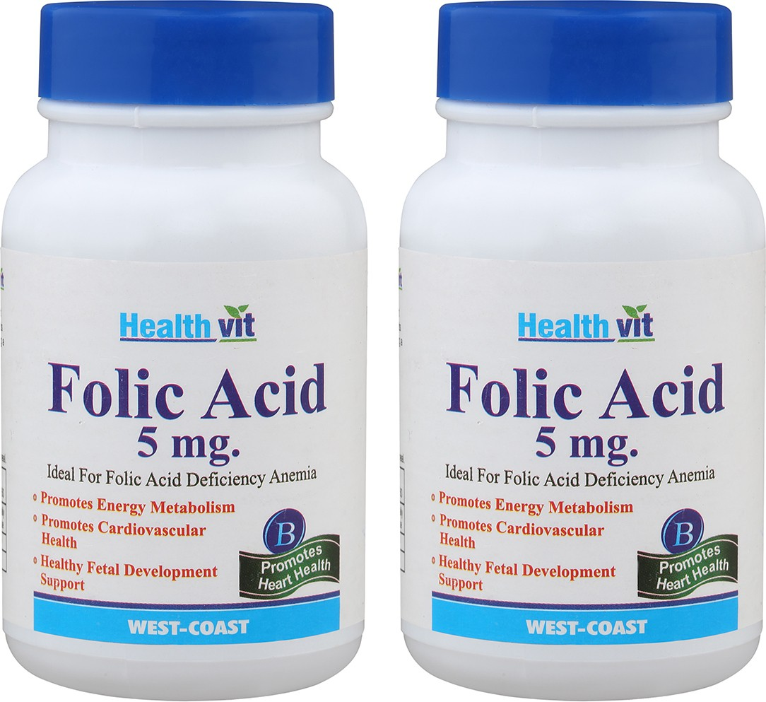 Healthvit Folic Acid 5mg 60 Tablets (Pack Of 2) For Cardiac Care Multi Vitamin