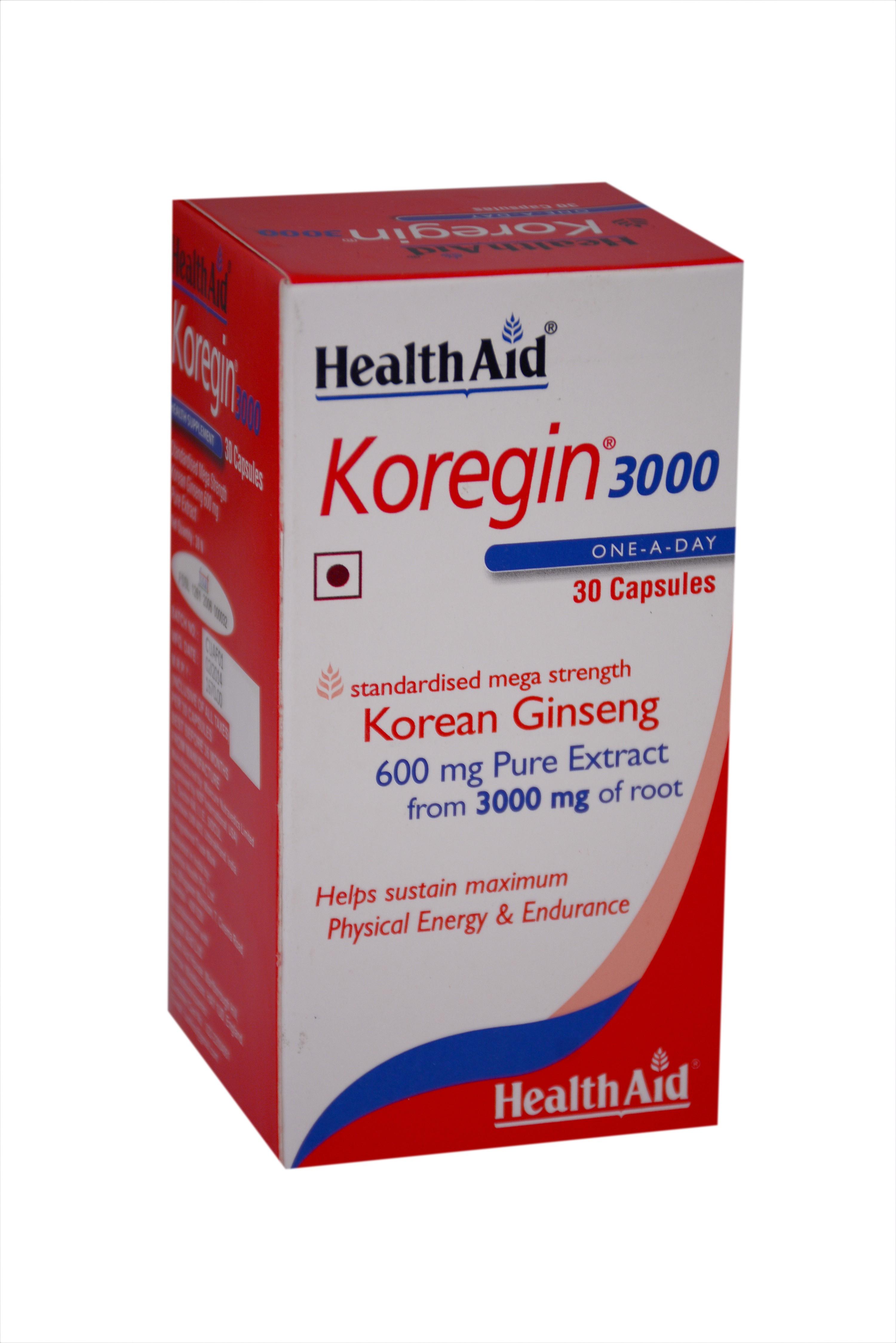 HealthAid Koregin 3000 (Korean Ginseng 600mg) Flipkart