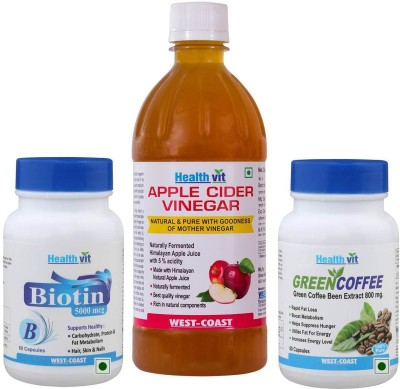 Healthvit Apple Cider Vinegar 500ml With Biotin 5000mcg & Green Coffee Extract 800mg(500 ml)