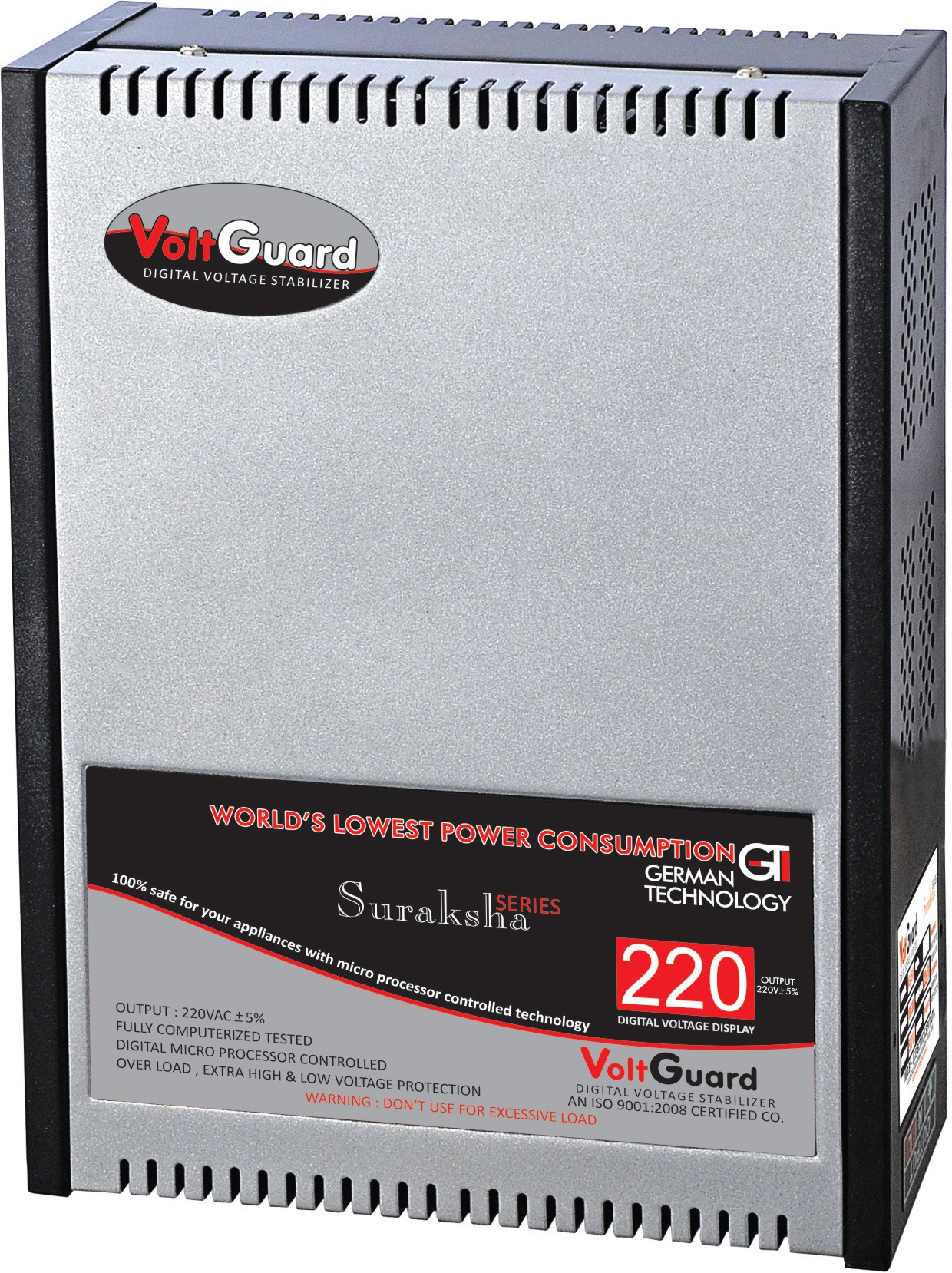 View VOLTGUARD VGL 411 SB DIGITAL AC VOLTAGE STABILIZER(SILVER BLACK) Home Appliances Price Online(VOLTGUARD)