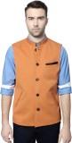 Peter England Orange Waistcoat Solid Men...
