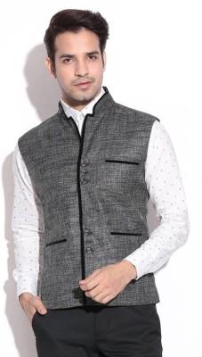 AKAAS Self Design Men's Waistcoat