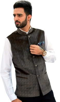 Men In Class Self Design Mens Waistcoat