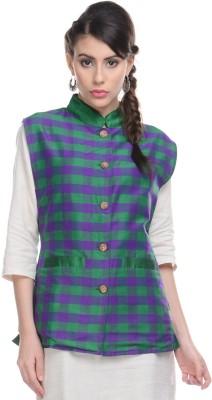 Lavennder Checkered Women's Waistcoat