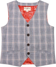 Niev Checkered Boy's Waistcoat