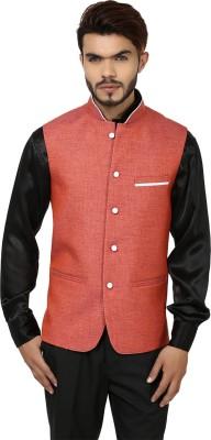 DesiDapper Vibrant Orange Solid Men's Waistcoat