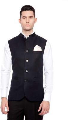 Brahaan Blue Tag Solid Men's Waistcoat