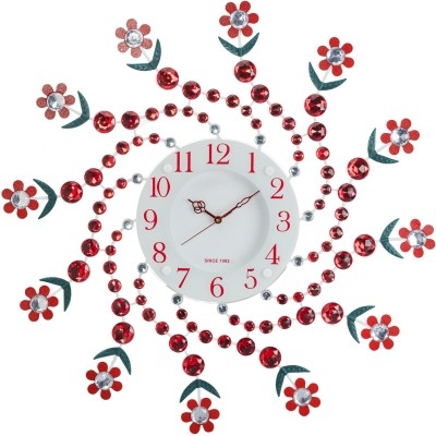 Wallace 115Red Designer Metal-Glass Ruby Studded Analog 58 cm Dia Wall Clock