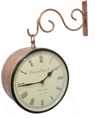 Prachin Analog 12 cm Dia Wall Clock(Brass, With Glass)
