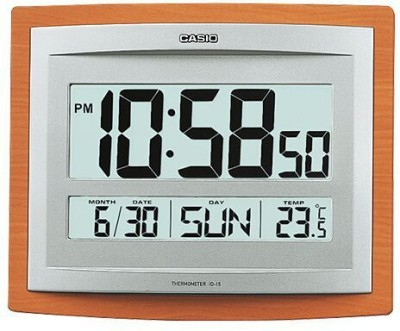 Casio Digital Wall Clock(Woodgrain Pattern, With Glass)