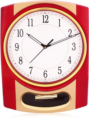 Fieesta Solar4407-Golden Pendulum Wall Clock with Musical Hourly Chimes Analog Wall Clock