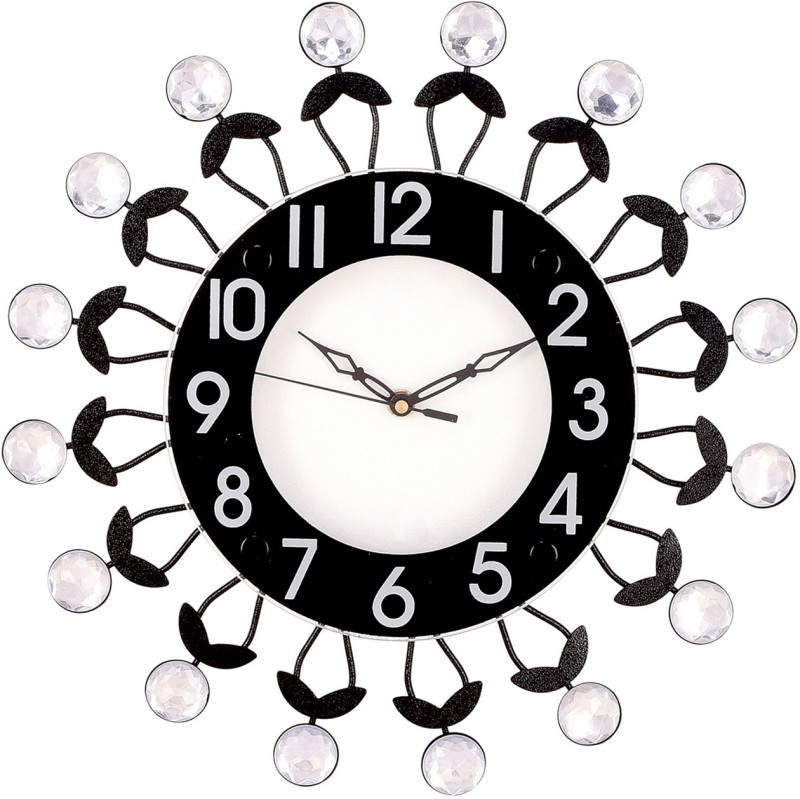 Prateek Exports Analog Wall Clock(Black, With Glass)