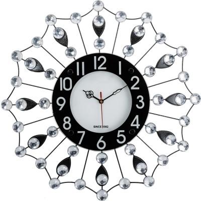 Wallace204 Designer Metal-Glass Diamond Studded Analog 47 cm Dia Wall Clock