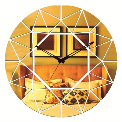 Rkason Gold Mirror Finish Diamond Analog Wall Clock