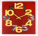 Kolors Analog Wall Clock (Red, Yellow, W...