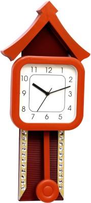Wallace Plaza Cystal Studded Pendulum Analog Wall Clock