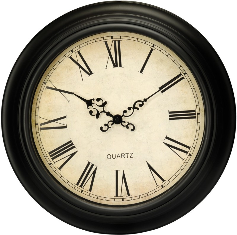 Basement Bazaar Analog 35 cm Dia Wall Clock(Black, With Glass)