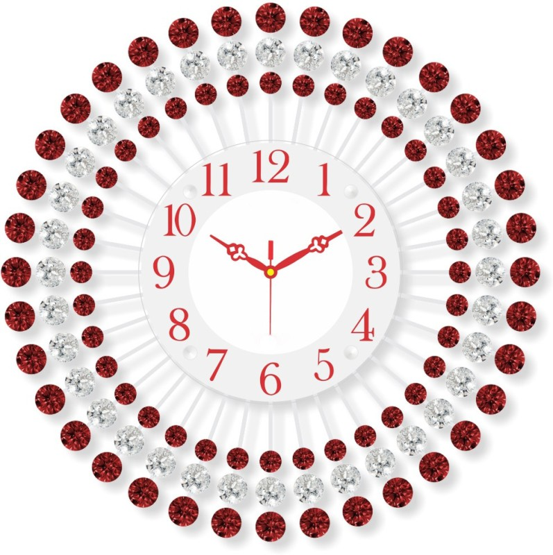Prateek Exports Analog Wall Clock(Red, With Glass)