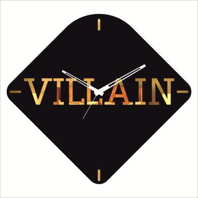 Rkason Matte Black & Gold Mirror Villian Analog Wall Clock