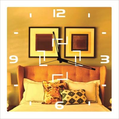 Rkason Gold Mirror Finish Led Twin L Analog Wall Clock