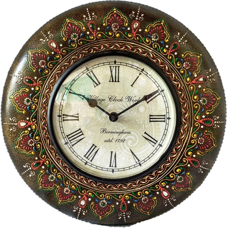 Sancheti Art Analog Wall Clock(Antique Brown, Multicolor, With Glass)