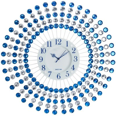 Wallace 110-Blue Decorative Glass Saffire On Metal Analog Wall Clock