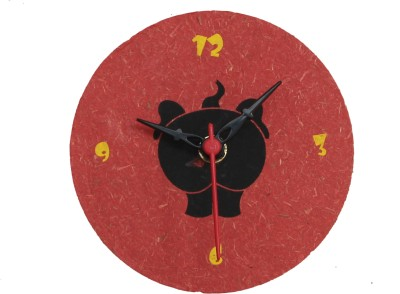 Haathi Chaap Pink Round Magnetic Clock Analog 29.21 cm Dia Wall Clock
