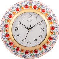 eCraftIndia Analog 31 cm Dia Wall Clock(White, Red, With Glass)