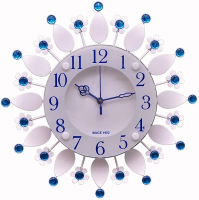 Wallace 413-Blue Designer Metal-Glass Crystal Analog 32 cm Dia Wall Clock