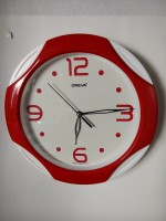 OREVA AJANTA Analog Wall Clock(Red, White, With Glass)