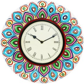 ShivaCrafts Analog Wall Clock(Multicolor, With Glass)