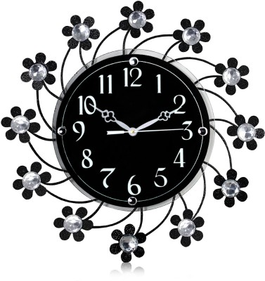 Arete Victor Molded Wrought Iron Crystal Studded Analog 36 cm Dia Wall Clock