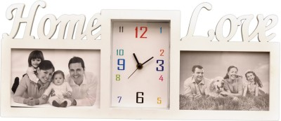 Wallace Sonic431-White Personalized Multi Photo-Frame with Wall Clock Analog Wall Clock
