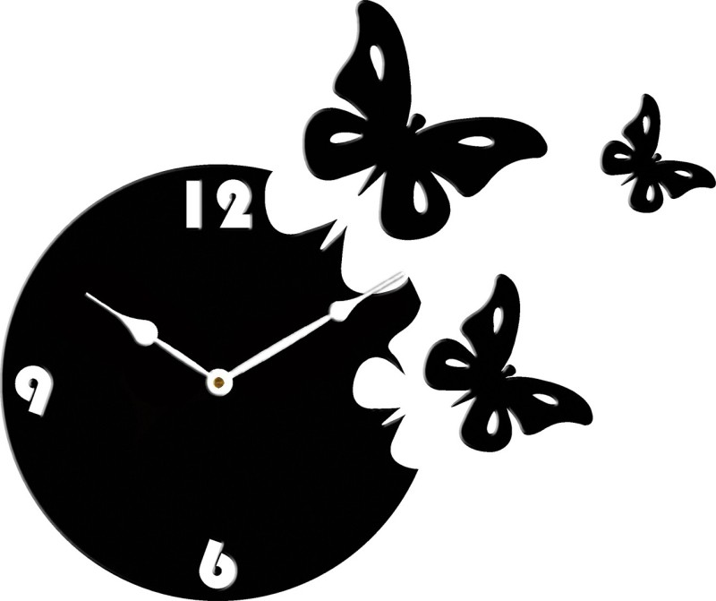 Basement Bazaar Analog Wall Clock(Black_White, Without Glass)