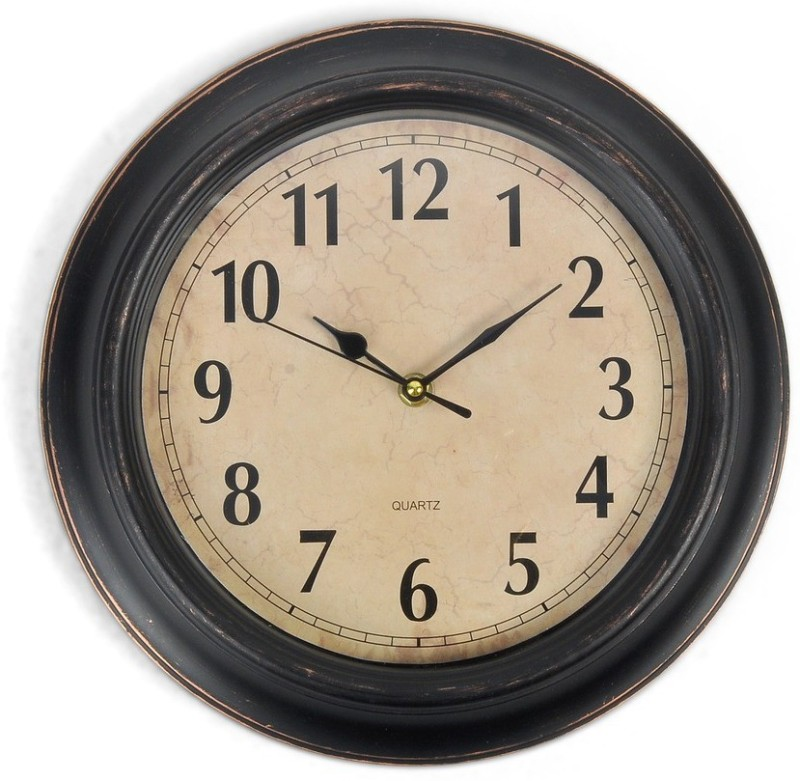 Cortina Analog Wall Clock(Beige, With Glass)