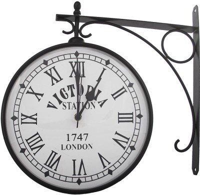 Sutra Decor Analog 15 cm Dia Wall Clock(Black, With Glass)