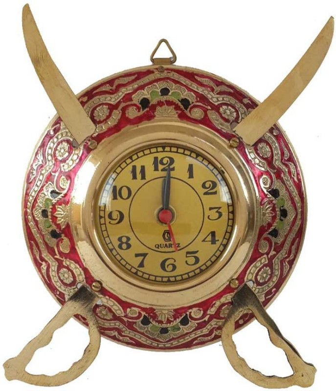 Folkshopz Analog 18 cm Dia Wall Clock(Shiny, With Glass)