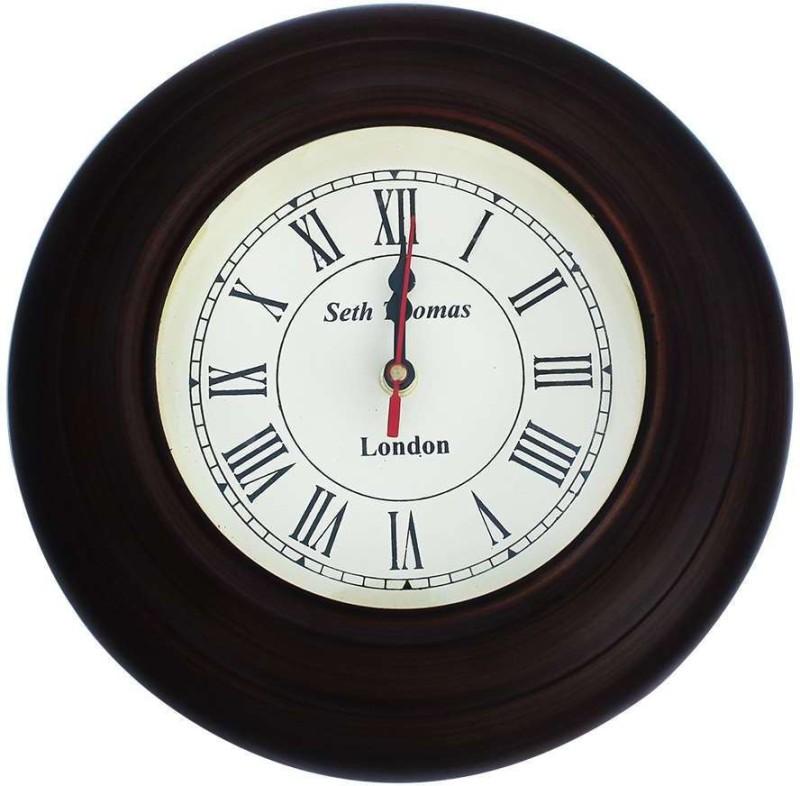 Shree Sai Analog Wall Clock(Brown, With Glass)