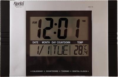 Ajanta Digital Wall Clock Black Silver With Glass