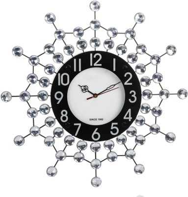 Wallace Victor206 Decorative Metal-Glass Diamond Studded Analog 47 cm Dia Wall Clock