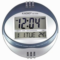 Kadio Digital 28 cm Dia Wall Clock(Blue, Silver, Without Glass)