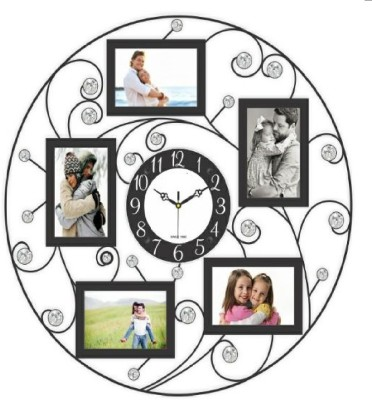 Wallace 701-Black Designer Metal Photo-frame Cum Wall Clock Analog 60 cm Dia Wall Clock