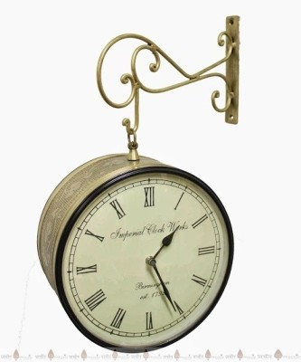 Prachin Analog Wall Clock(Antique Brass, With Glass)